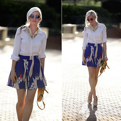 Amanda Custo - Country Road Skirt, Forever New Necklace - Bleu et Blanc etc.