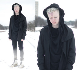 Samuel Friberg - Damir Doma Hoodie, Army Of Me Shirt, Cheap Monday Gradient Jeans, Dr. Martens White Mono Boots - Nomad