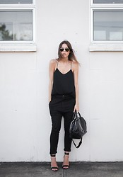 Kaitlyn Ham - Camilla And Marc Zoya Cami Top, Bassike Lo Slung Slouch Pant, Alexander Wang Jamie Chastity Chain Satchel Bag, Tibi Single Band Sandal Heels, Ray Ban Original Unisex Aviator Sunglasses - Standard Issue.