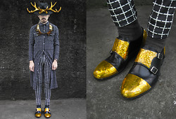 Andre Judd - Andre Judd Gold Couture Shoe, Grid Line Trousers, Grid Line Button Donw Shirt, Gold Antler Headpiece, Horn Neckpiece - GRID AND GOLD