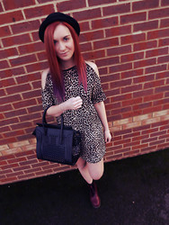 Roxii Hoare-Smith - Ebay Hat, Motel Rocks Dress, Doc Marten Boots - Leopard Print Cold Shoulder