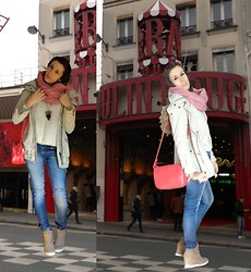 Annisa Evelyn Zoe - Vintage Pink Scarf, Pimkie Red Bag, Sheinside White Jacket, Bershka Oversize White Sweater, Vintage Owl Necklace, Stradivarius Destroy Jeans, Stradivarius Brown Sneakers - Paris est Rouge