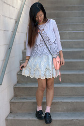 Grace H - Rebecca Minkoff Mini Mac, Urban Outfitters Lace Top - Lace on lace.