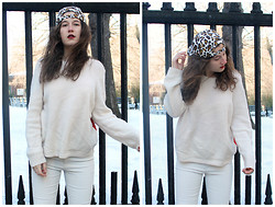 Cristina Cabada - Cos Cream Sweater, Zara White Jeans, J. Crew Leopard Print Snapback - Snap out of it