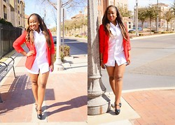 Rachelle M - Trifted White Shirt, Trifted Red Blazer, Amiclubwear Black Heels, Charlotte Russe Shorts - Casual in Red