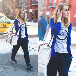 TIPHAINE MARIE - Lacoste Cardigan, Lacoste T Shirt, Lacoste Bag, Lacoste Pants, Lacoste Sneakers - NYFW 2014: Tiphaine's Diary x Lacoste in the West Village