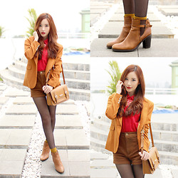 Elle Yamada - Red Button Up Shirt, Brown Blazer, Bruno Premi Brown Boots - Work It
