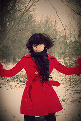 Sydney Carter - Thrifted Red Coat, Apt 9 Scarf - The dog days are over