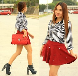 Julie Lozada - Choies Stripe Shirt, Persun Skater Skirt, Wholesale Dress.Net Shoes, Michaela Bag - Red Red Wine