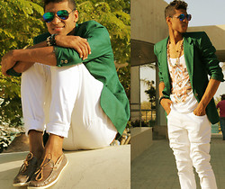 Liliano Ventos - H&M Green Linen Blazer, Calvin Klein White Jeans, Ray Ban Eyewear, Zara Tank, Boat Shoes - You are not designed for everyone to like you.