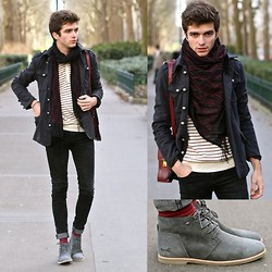 "Matthias C. - Boxfresh Shoes, Jack & Jones Striped Sweater, Black Skinny Jeans, Wholesale 7 Coat, Bag, Embroidered Scarf - ""Persès"""