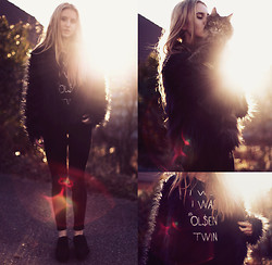 Jessica Christ - Motel Faux Fur Jacket, Hips And Hair Tank, Topshop Jeans, Vagabond Flats - I WISH I WAS AN OL$EN TWIN - black on black