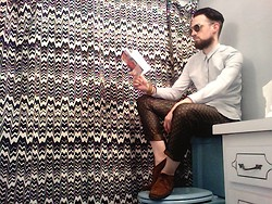 David Rodriguez - Wash Dry Goods Button Down, H&M Damask Silk Trousers, Minnetonka Suede Booties - The bathroom reader