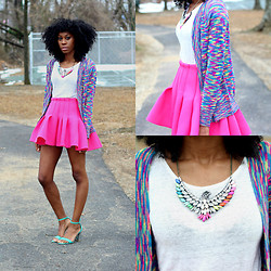 Jennifer W - Sammydress Colorful V Neck Cardigan, H&M Pink Foam Skirt, Sammydress Rhinestone Eagle Shape Necklace - Colorful Winter | Sammy Dress