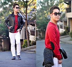 Vergil Lloyd Chua - Giordano Red Long Sleeves Shirt, Topman Cross Necklace, Fossil Time Keeper, Aldo Arm Candy, Uniqlo White Full Length Pants, Zara Gray Shoes, Aldo Red Shades - Wanderlust
