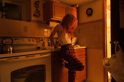 "Sharlotte F - Nasty Gal White Lace Bustier, Buffalo Exchange Plaid Pants - ""Someone's in the kitchen with Dinah"""