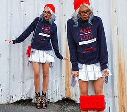 Alanna Durkovich - Ami Ldn Classic Sweatshirt, Amiclubwear Peep Toe Bootie Heels, Love Eyeglasses - The Marriage of Sweaters and Skirts