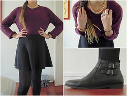 Rebecca S - H&M Purple Sweater, New Look Skater Skirt, Primark Flat Boots, Six Ring, New Look Bracelet, Bershka Gold Necklace - A classy look