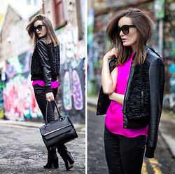 Anouska Proetta Brandon - Lennon Courntey Silk Top, Marciano Jacket, Supertrash Boots, Céline Sunglasses - Think Pink.