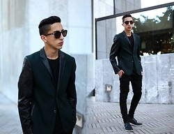 Driss Khadim - Raf Simons Green & Black, Balmain Skinny, Dior Homme Black Cover, American Apparel Black Tee, Quay Australia - The best or nothing