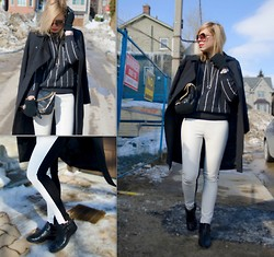 Liat Neuman - French Connection Uk Coat, Mango Sweater, Club Monaco Pants, Other Stories Necklace - Stripes