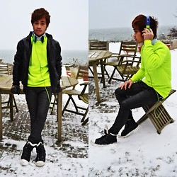 "Brian Peter - Leather Jacket With Hood, Neon Green Pull Over, United Colors Of Benetton Combo Colored Headset, H&M Super Slim Skinny Jeans, Bianco Winter Boots - ""Music to my ears"""