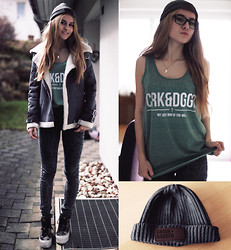 Jessica Christ - Crook & Dagger Top, Crook & Dagger Beanie, Vans Sk8 Hi Platforms, Romwe Jacket - Crook & dagger