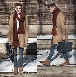Andrew Eirich - Club Monaco Camel Wool Coat, H&M Oversized Scarf, H&M Jeans, Aldo Suede Boots, Cambridge Satchel Music Bag, Oak Doro Shirt - Winter Camel.