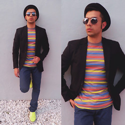 Franko Dean - Urban Outfitters Stripes Shirt, Zara Blue Jeans, H&M Fluorescent Sneakers, H&M Black Blazer, Urban Outfitters Fedora Hat, Vintage Round Sunglasses - Stripes and Colors !!