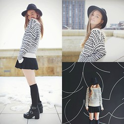 Jen Mulrow - Topshop Hat, American Apparel Sweater, American Apparel Pleated Skirt, American Apparel Ribbed Knee Socks, Office Black Boots - The Bells