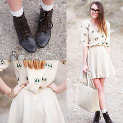 Madeline Becker - Sugarhill Boutique Duckie Blouse, Le Bunny Bleu Lace Up Boots, Tfnc London Mona Skirt - Duckie Love