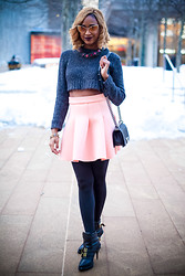Ria Michelle - Tom Ford Nastasya Cat Eye Sunglasses, Cheap Monday Truncate Sweater, Frontrowshop Sponge Mini Skirt - Another Snowy Evening