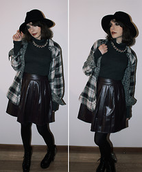 Ines Tavares - Zara Grey Cropped Top, Asos Wine Pleated Skater Skirt In Leather Look - Grungy Dream