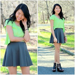 See Yang - Neon Green Crop Top, Forever 21 Circle Skirt - Neon
