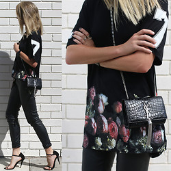 Oraclefox . - Givenchy Black Floral Print T Shirt, Iris & Ink Leather Pants, Yves Saint Laurent Shoulder Bag - David & Goliath