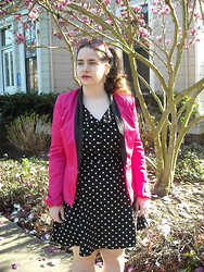 Dani RT - Forever 21 Hot Pink Tuxedo Blazer, Forever 21 Polka Dot Dress - Hot Pink + Polka Dots