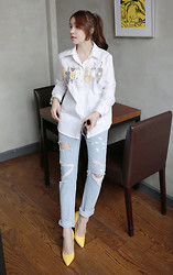Miamiyu K - Miamasvin Cats Print Button Down Shirt, Miamasvin Destroyed Boyfriend Jeans, Miamasvin Textured Pointed Toes Pumps - I Cat, Therefore I Am