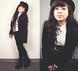 Nicole - Thrifted Black Bowler Hat, Forever 21 Black Ankle Wedges, Thrifted White Collar Shirt - Colourless in Colour