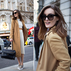 Anouska Proetta Brandon - Vintage Camel Coat, Céline Sunglasses, Zara Two Piece, Vans Shoes - In the UK, just for one day.