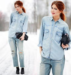 Ebba Zingmark - 2hand Denim Shirt, Frontrowshop Jeans, Boots - Denim on Denim