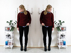 Frida Hagström - Hollister Shirt, Gina Tricot Cable Knitted Sweater, Diesel Black Jeans, Din Skor Boots - Cable knitted sweater