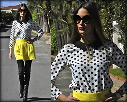 Amina Allam - Giant Vintage Round Sunglasses, Romwe Polka Dot Blouse, Zara Yellow Cotton Skirt, Topshop Thigh High Boots - Spring is in the air