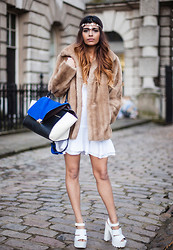 Kavita D - Miss Selfridge Headpiece, Vintage Faux Fur Coat, Let Them Stare White Flippy Dress, River Island White Cleated Sole Heels - London Fashion Week Day Five 2014