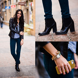 Ariel - Brandy Melville Usa T  Shirt, Veda Leather Jacket, Stuart Weitzman Booties, Ag Jeans - Black & Blue
