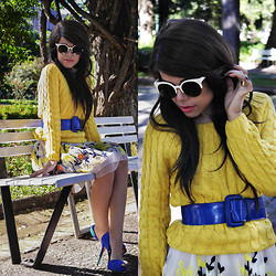 Priscila Diniz - Twisted Long Sleeves Yellow Jumper, Embroidered Skirt - When truth is replaced by silence,the silence is a lie
