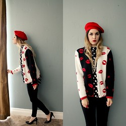 Lexi L - Red Beret, Second Hand Lip Sweater, H&M Polka Dot Button Up, Nine West Black Pumps - Who