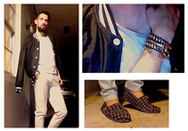 David Rodriguez - H&M Nylon Bomber, American Apparel Striped T Shirt, American Apparel Seer Sucker Trousers, Hues Chain & Leather Bracelet, Giles & Brother Brass Hoof Cuff, Toms Canvas Slip Ons - MIDNIGHT MEETING