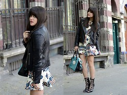 "Gaby Gómez MODA CAPITAL - Vateno Jacket, Sheinside Dress, Lonchamp Bag, Schutz Heels - ""Geometric print dress"""