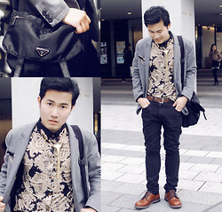 KIKO CAGAYAT - Sammydress Korean Style Shirt Collar Floral Splicing Long Sleeves Polyester Shirt For Men, Prada Messanger Bag, Gap Blazer - Perks of being a cauliflower