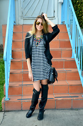 Lainey G - De Lacy Clothing Dress, Kardashian Kollection Blazer, Alloy Apparel Boots, Boohoo Purse, Deepa Gurnani Necklace, Paul Frank Sunglasses - The Hipster Prepster